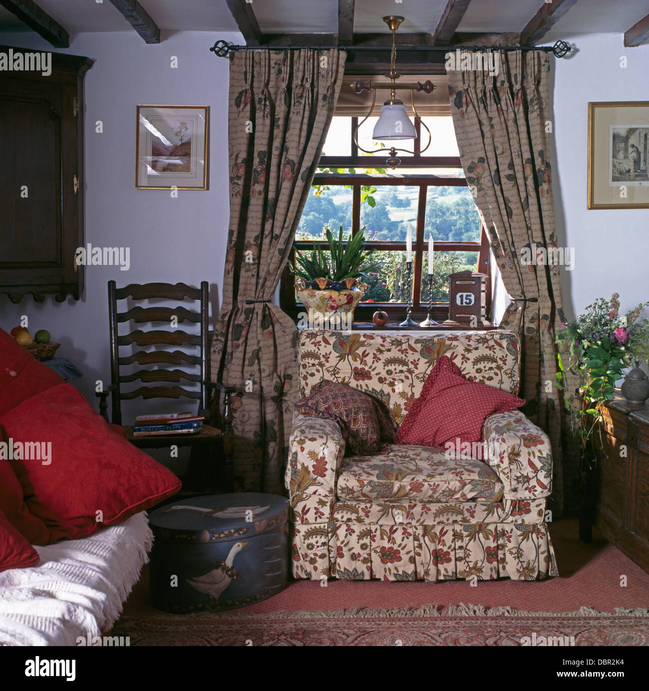 floral arm chair linen dining room seat covers patterned drapes on window above armchair in cottage living with antique ladder back and painted circular box