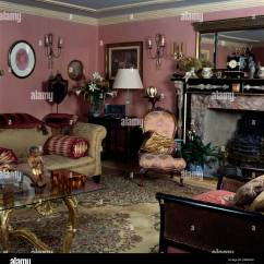 Old Fashioned Bedroom Chairs Wooden Glider Chair Cushions Damask Silk Victorian And Beige Sofa In Dark Pink