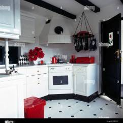Black And White Kitchen Accessories Rustic Island Lighting Red In With