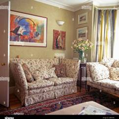 Sofa Paintings Abstract L Shape Bed Designs Pictures Colorful Painting Above Floral Knole In