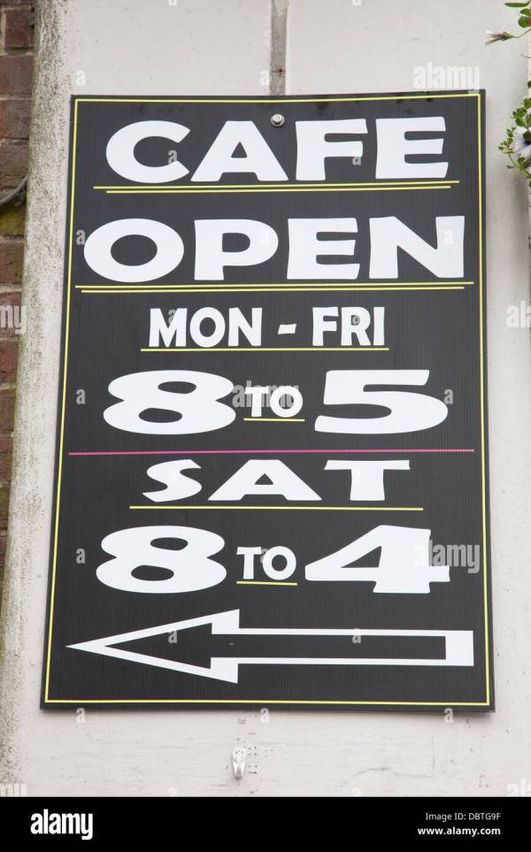 Cafe Sign Blackboard With Opening Hours In English Text