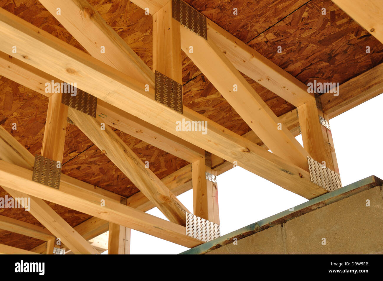 Floor  ceiling joists  trusses in a new house under