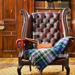 Tartan Chesterfield Sofa Danish Modern Beds Traditional Armchair With Blanket In Classical Library Room