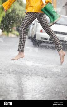 Soaking Wet Woman Rain Stock &