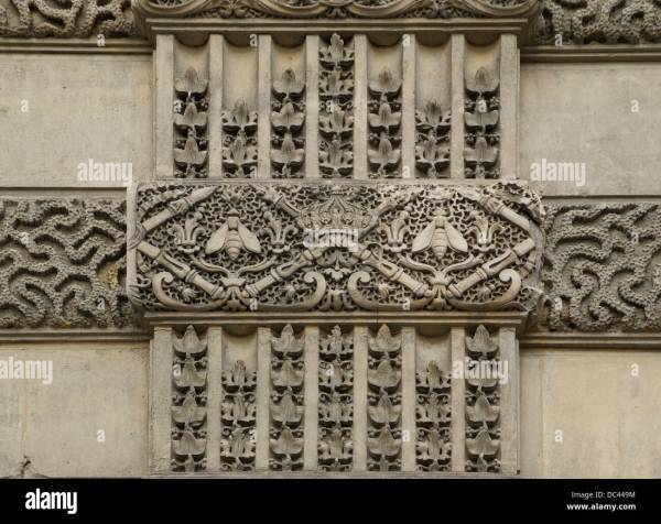 Details Of Sculpted Decorations Visibles Walls Louvre Stock Royalty Free