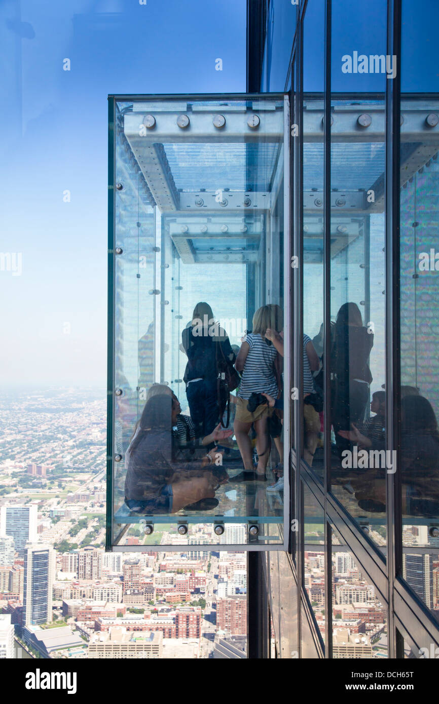 The Willis tower formerly Sears tower glass balconies observation Stock Photo Royalty Free