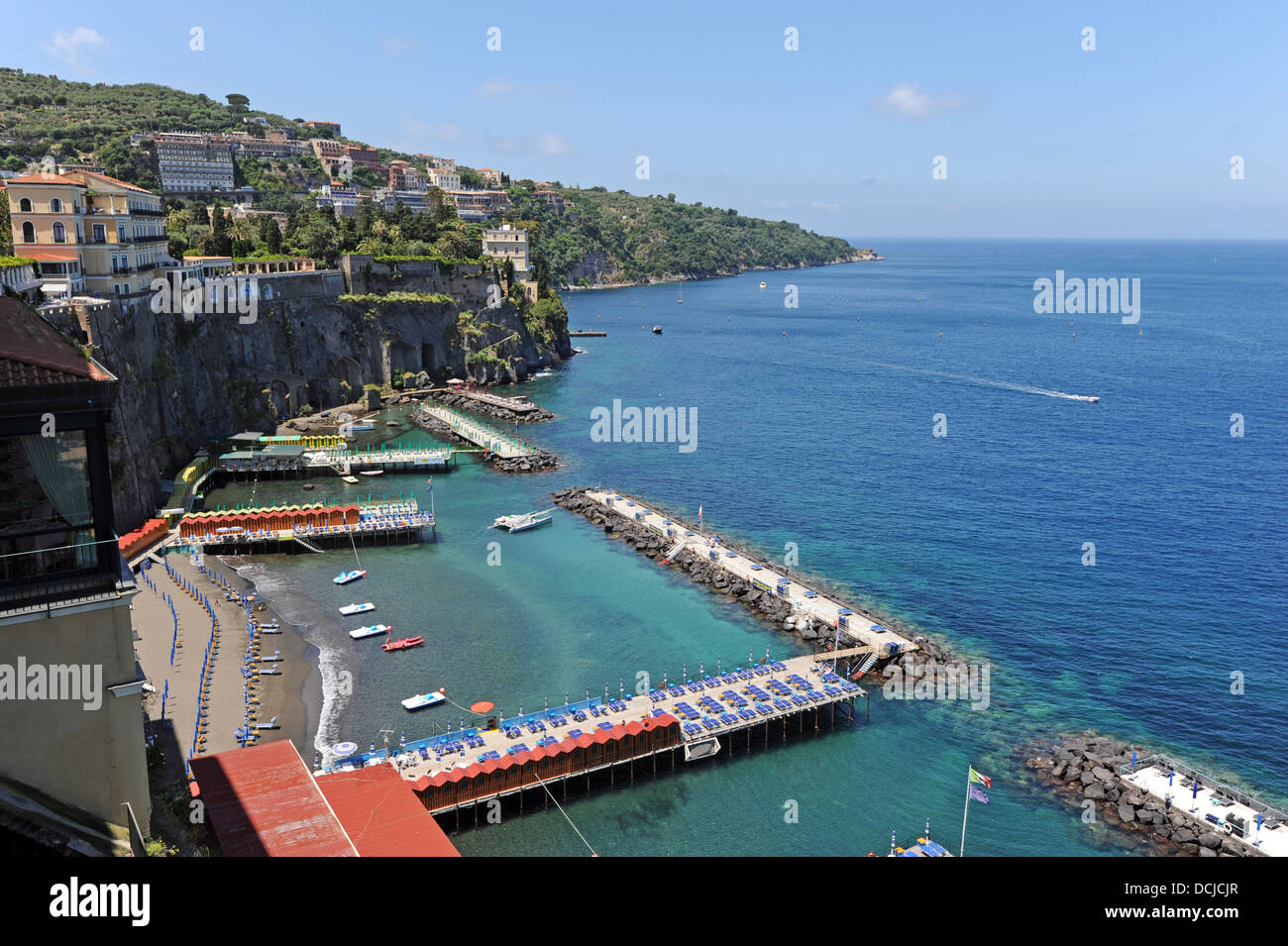 The view from Sorrento of the Marina Grande beach and sunbathing Stock Photo 59412047  Alamy