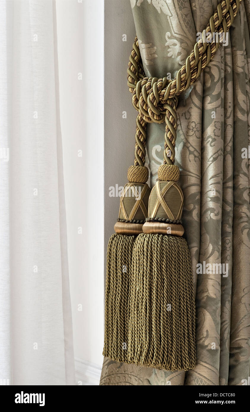 A Curtain Tie Back With Heavy Embroidered Tassels Stock Photo 59543456 Alamy