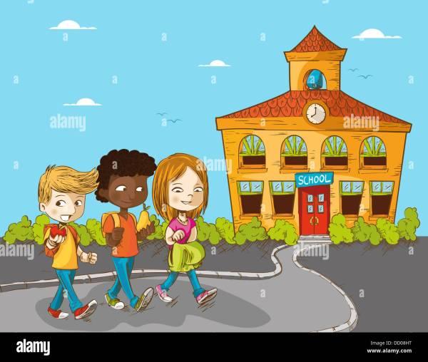 Cartoon Kids Walking into School