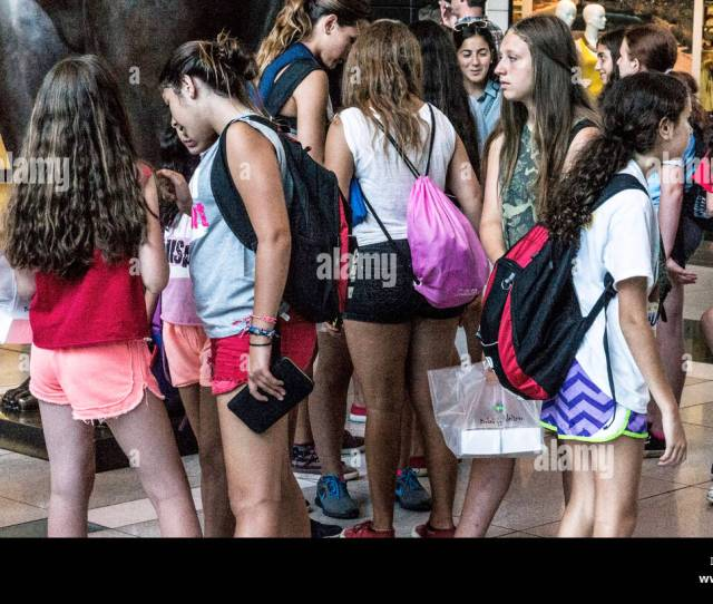 Graceful Group Jewish Teen Girl Day Campers Gather In Atrium Time Warner Center To View Shop Cool Off On Hot New York Day