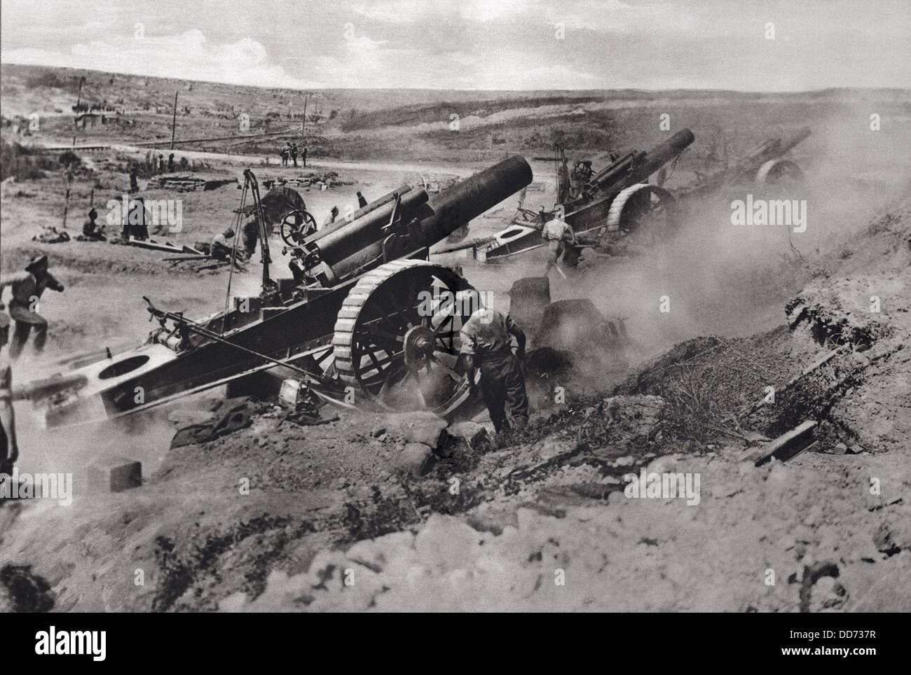 World War 1 Battle Of The Somme Three 8 Inch Howitzers
