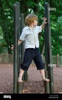 Young Boy Climbing Frame Barefoot Park Egestorf