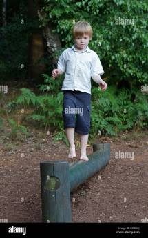 Young Boy Balancing Pole Barefoot Park Egestorf