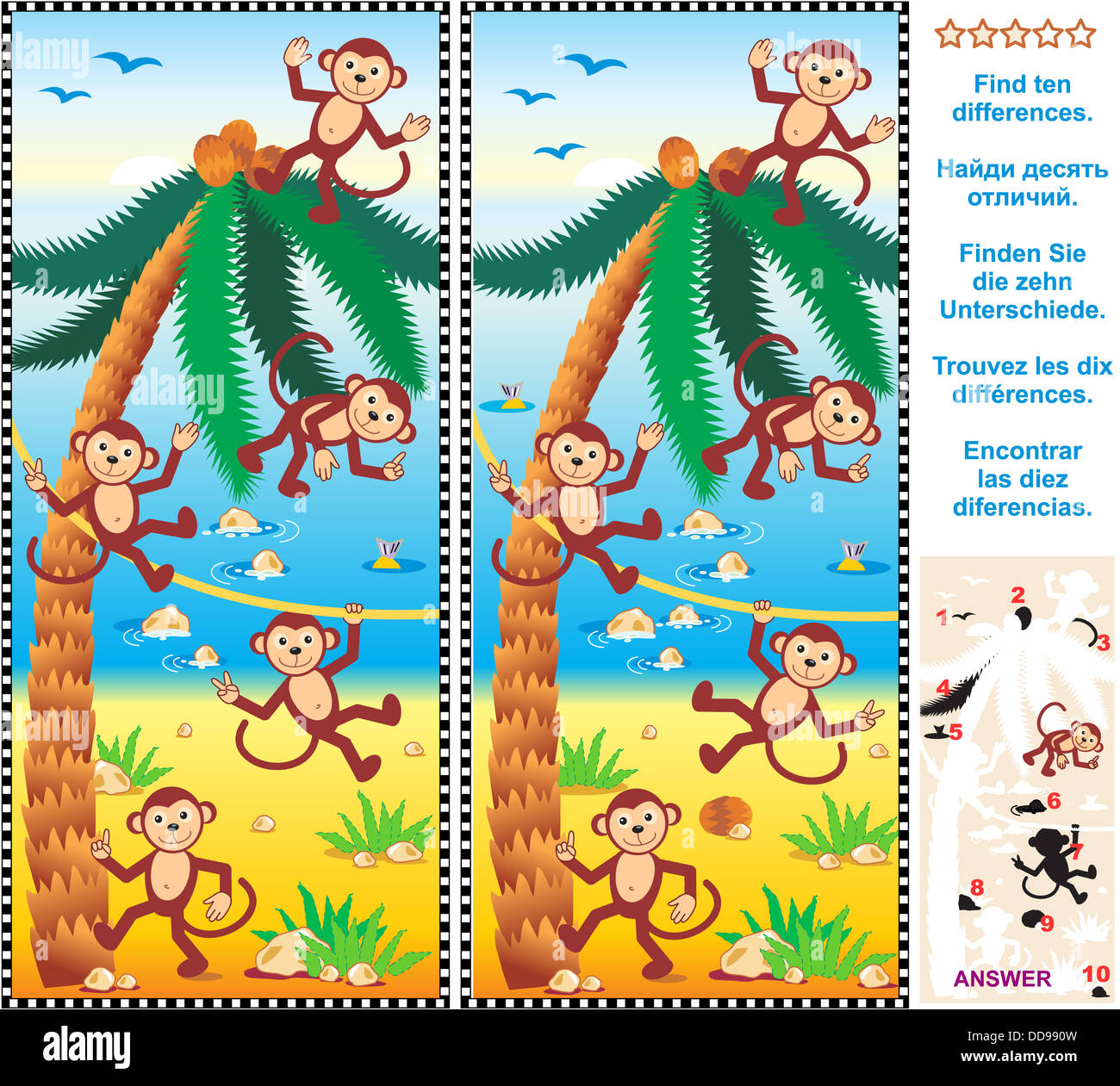 Visual Puzzle Find The Ten Differences Between The Two Pictures Stock Photo