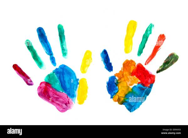 Colourful hand prints painted stamped on paper Stock