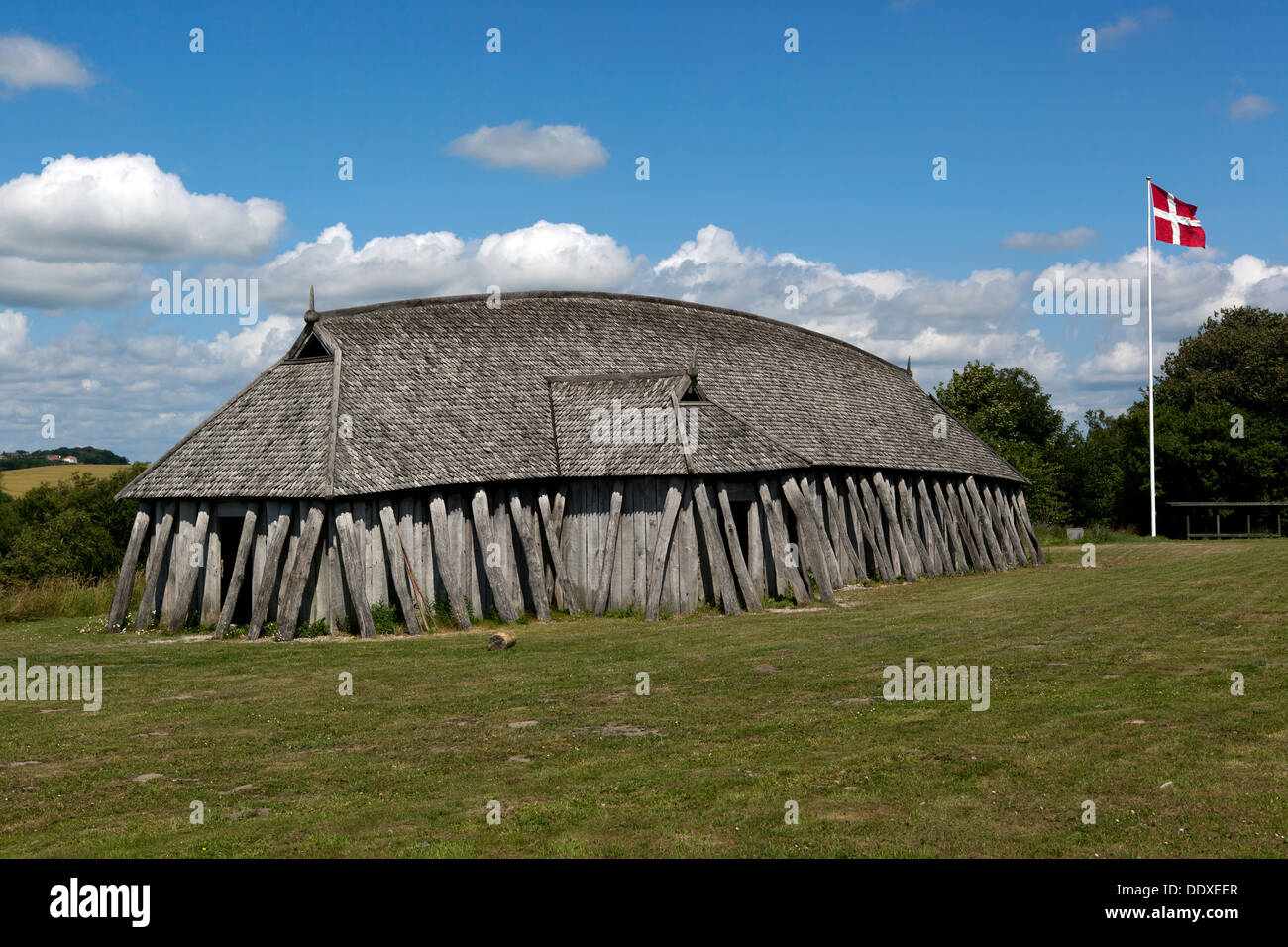 Viking Longhouse At Fyrkat Hobro Denmark Stock Photo