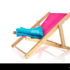 Pink Beach Chair Rocking Cusions With Blue Towel Isolated Over White Background