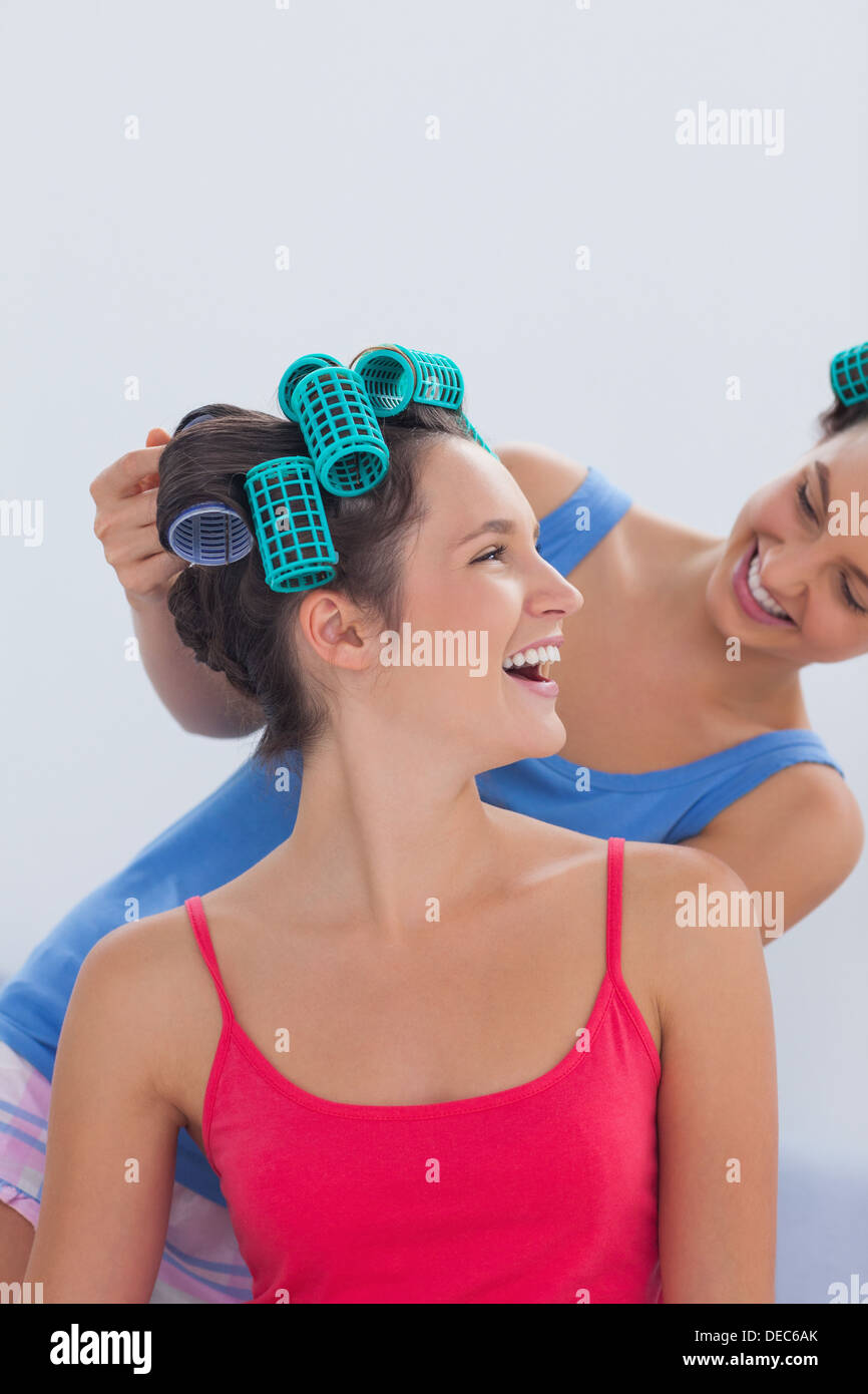 Young Woman Wearing Hair Rollers Stock Photos Amp Young
