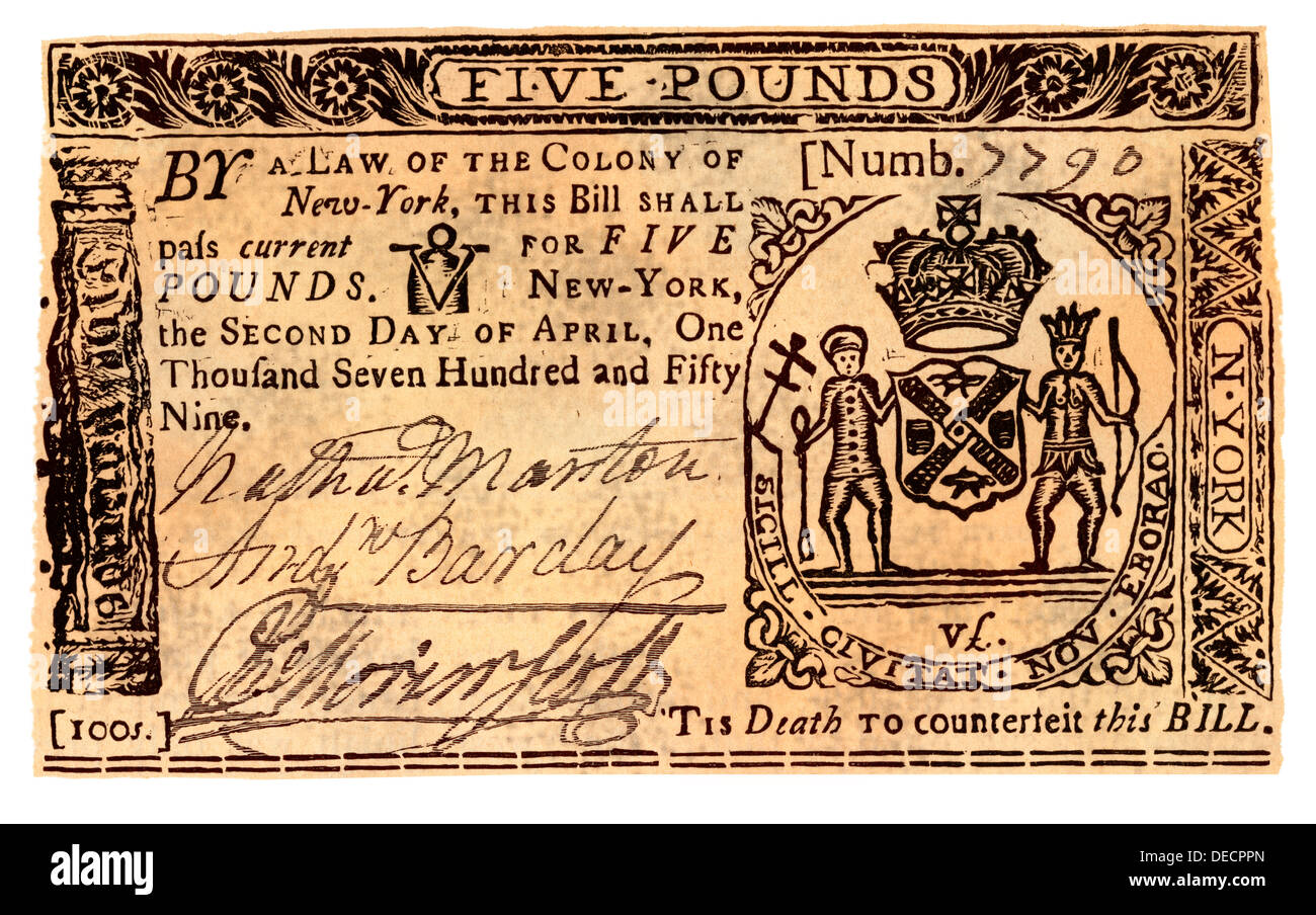 Colonial Five Pounds Money Of New York Hand Colored