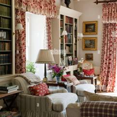 Patterned Curtains For Living Room Paint Ideas With Brown Leather Furniture Country Estate Red Stock Photo