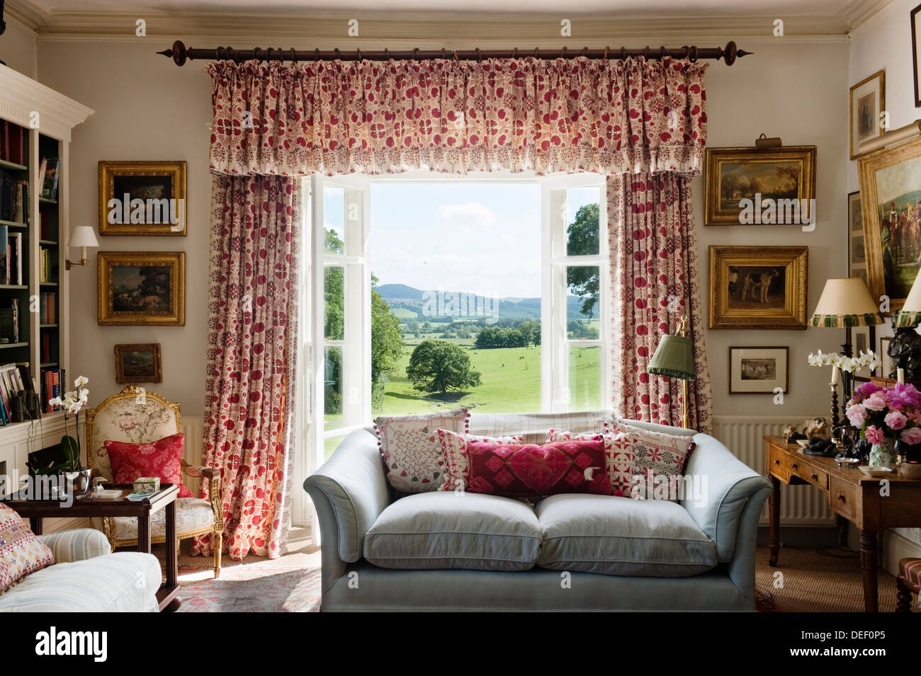 patterned curtains for living room large country estate with red stock photo
