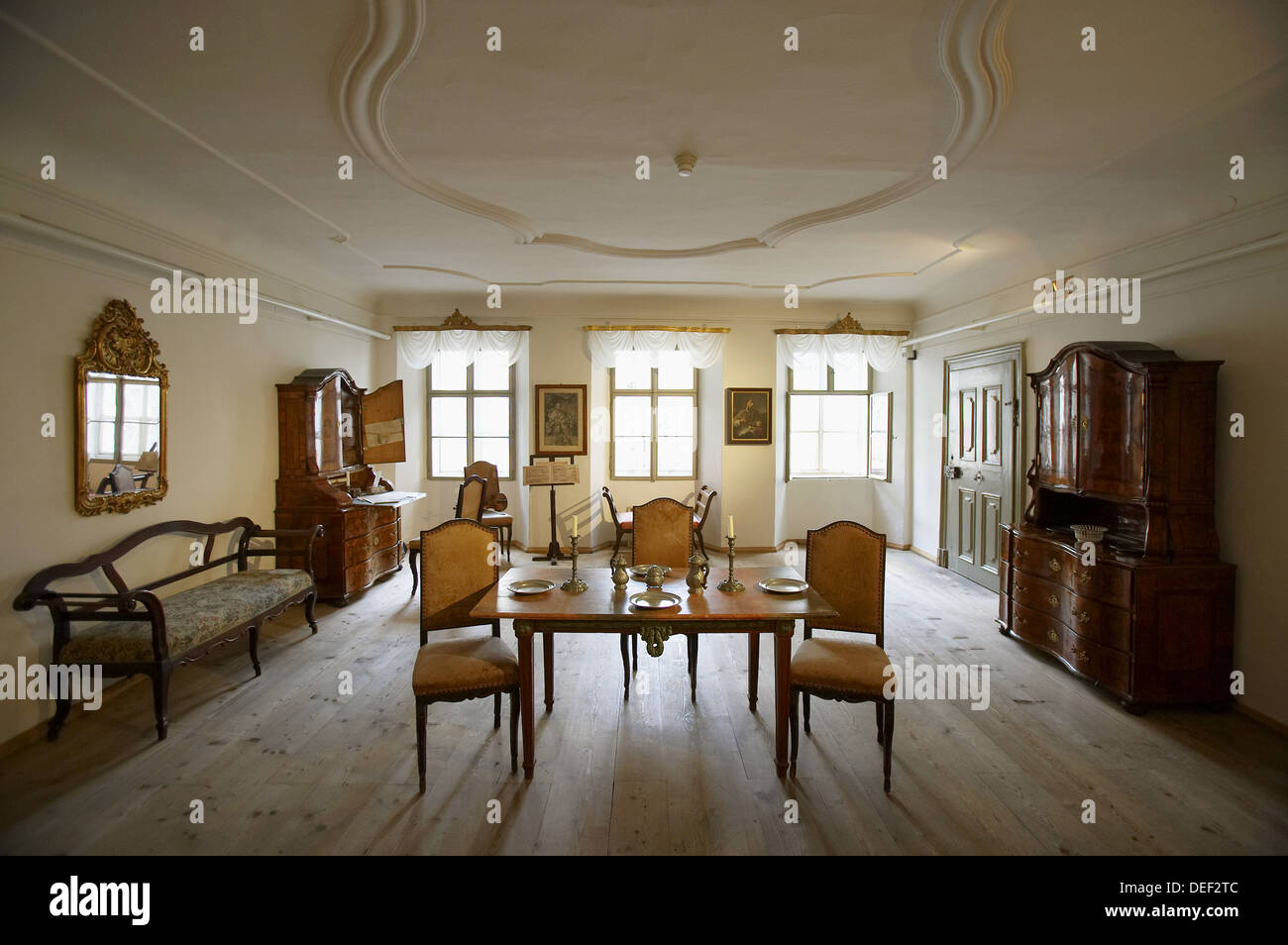 old fashioned birthing chairs simply bows and chair covers northumberland mozarts birth house salzburg austria stock photo