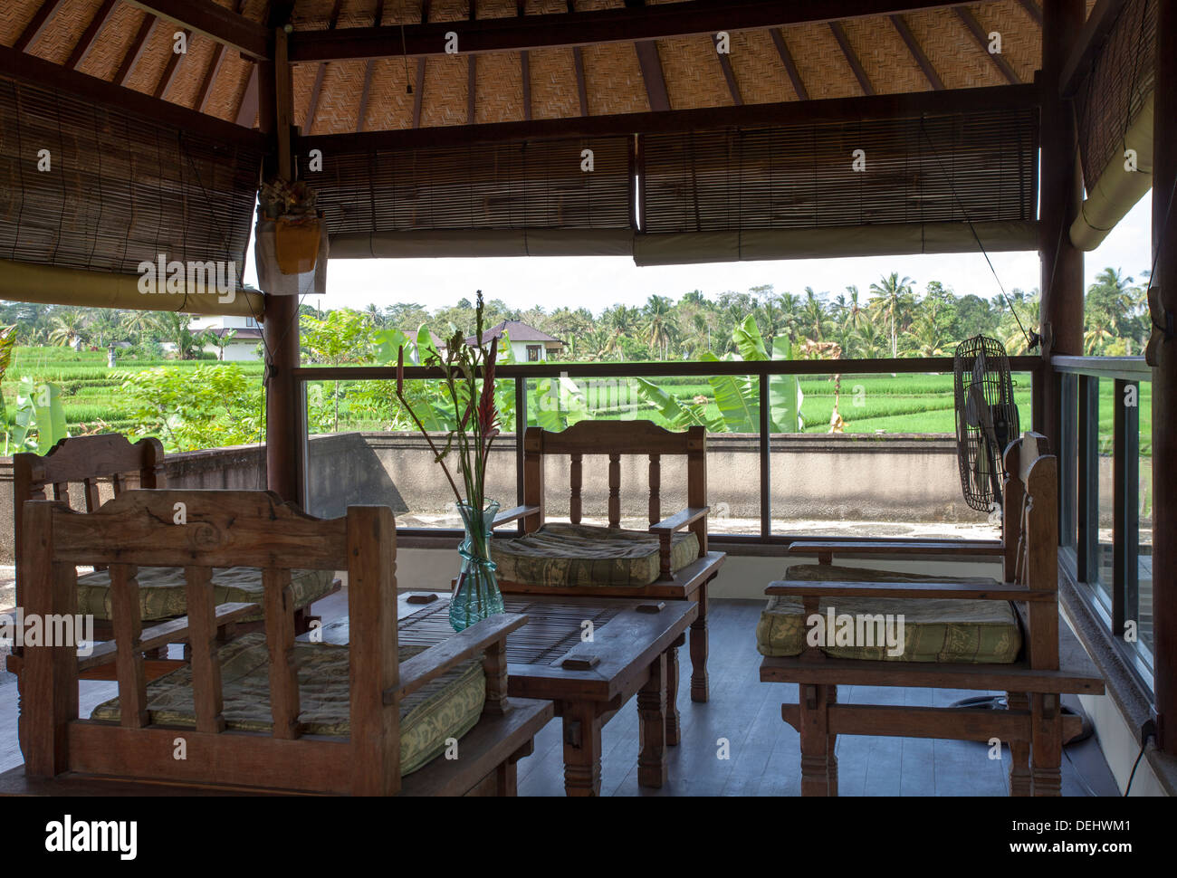 wooden hand chair bali cover hire east sussex balcony table villa ubud indonesia asia wood