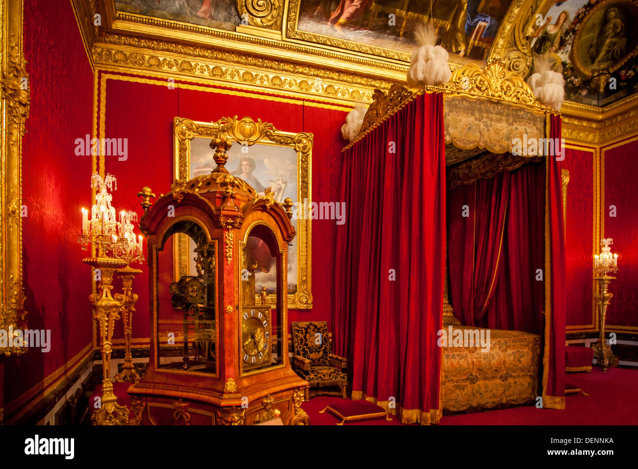 Red Bed Chamber At Chateau De Versailles Near Paris France