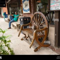 Wagon Wheel Chair Slingback Patio Chairs Canada In Front Of Conestoga Restaurant Along
