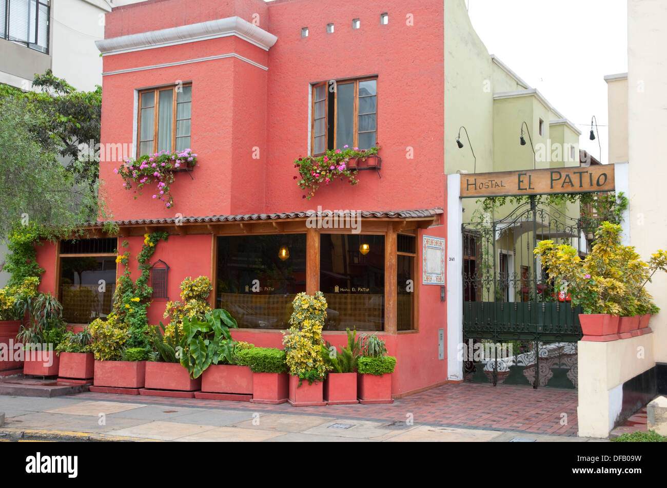https www alamy com the exterior of the el patio hostal in miraflores lima peru south image61092693 html