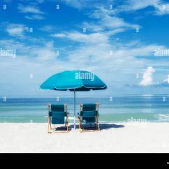 Beach Chairs And Umbrella Pilates Chair Exercises For Seniors Two Turquoise Under Facing The Ocean Sea Shore Sunny Warm Blue Sky Green