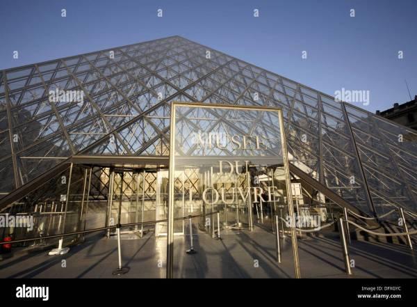 Glass Pyramid Entrance Louvre Museum Paris. France