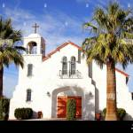 Spanish Style Church Near Joshua Tree California Usa Stock Photo Alamy