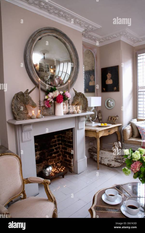 Mirror above Fireplace with Stones