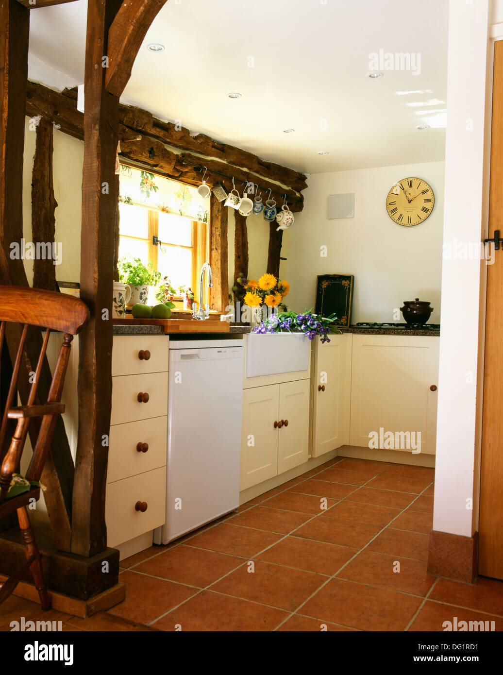 https www alamy com quarry tiled floor in cottage kitchen with exposed wall beams and image61505949 html