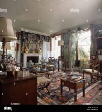 Potted palm in old fashioned drawing room with patterned
