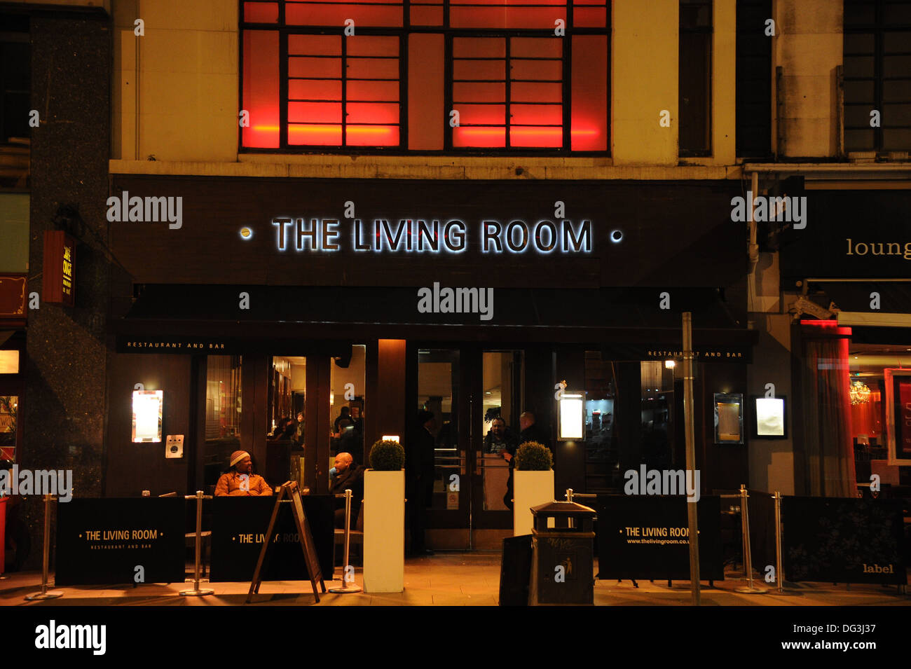 Living Room Restaurant and Bar at night Manchester UK