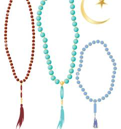 an illustration of islamic prayer beads in different colors with crescent moon symbol isolated on a [ 1040 x 1390 Pixel ]