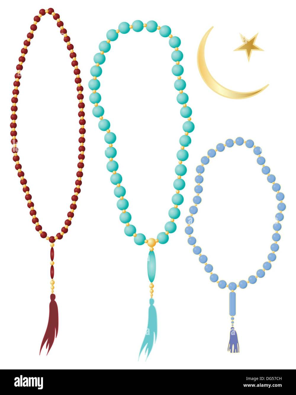 medium resolution of an illustration of islamic prayer beads in different colors with crescent moon symbol isolated on a