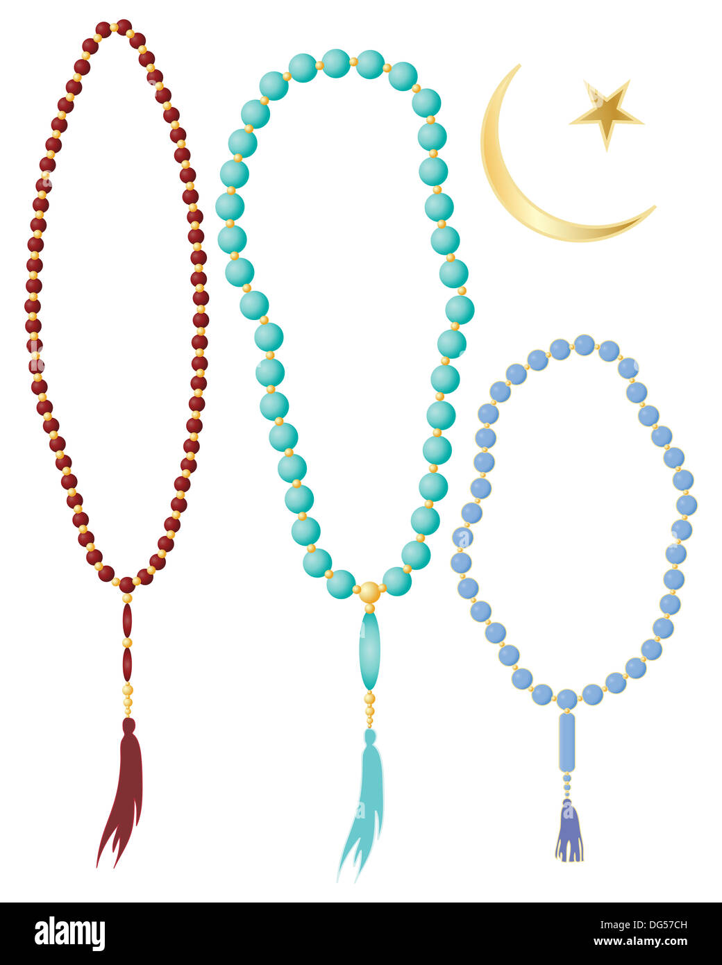 hight resolution of an illustration of islamic prayer beads in different colors with crescent moon symbol isolated on a