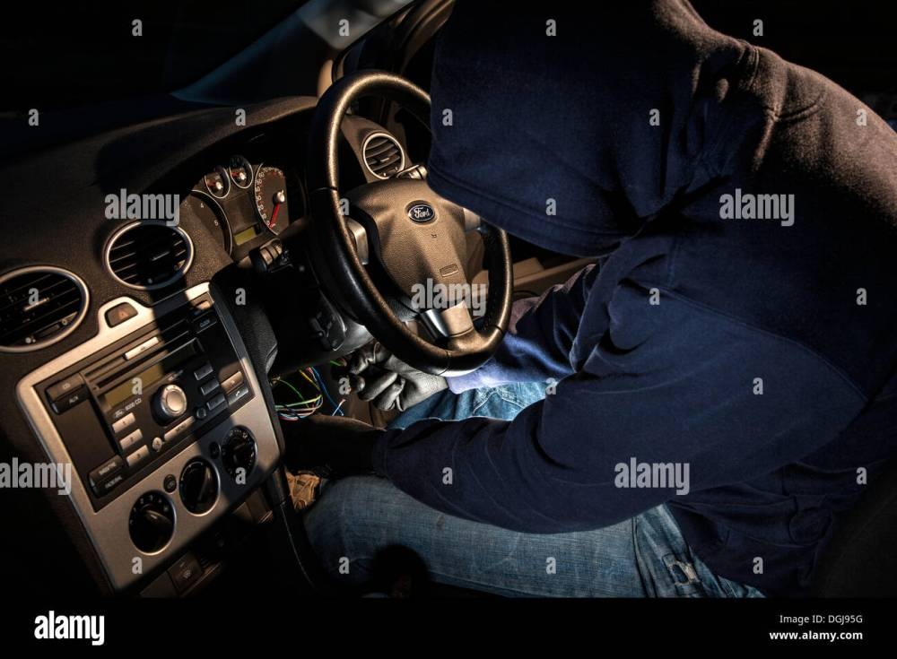 medium resolution of a man wearing a hoody hot wiring a car