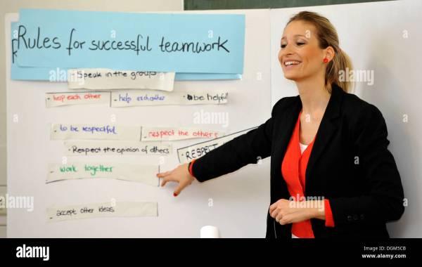 Young English Teacher Trainee Teaching Stock