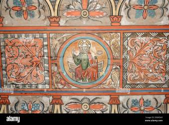 medieval church jesus painting ceiling christ historical alamy wooden