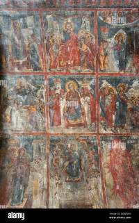 Ancient frescoes, wall paintings depicting the life of ...