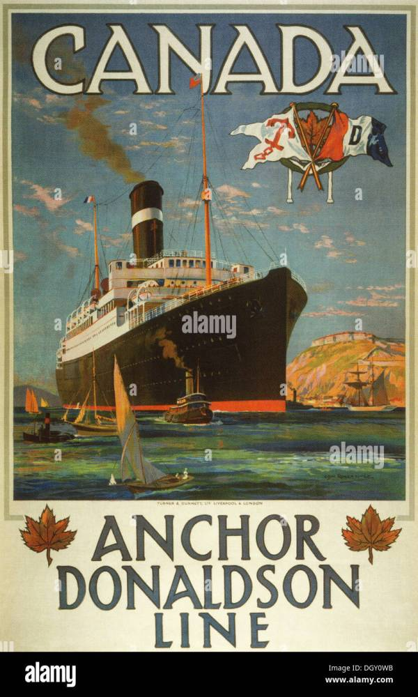 Anchor Donaldson Line Ad Vintage Travel Poster 1920 - Editorial Stock 62059015 Alamy