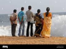 Indian People Beach Chowara Kerala South India