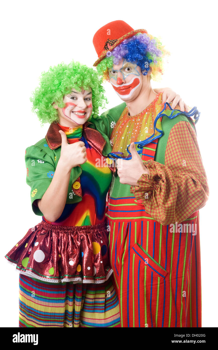 Couple Of Happy Clowns Isolated On White Stock Photo Alamy