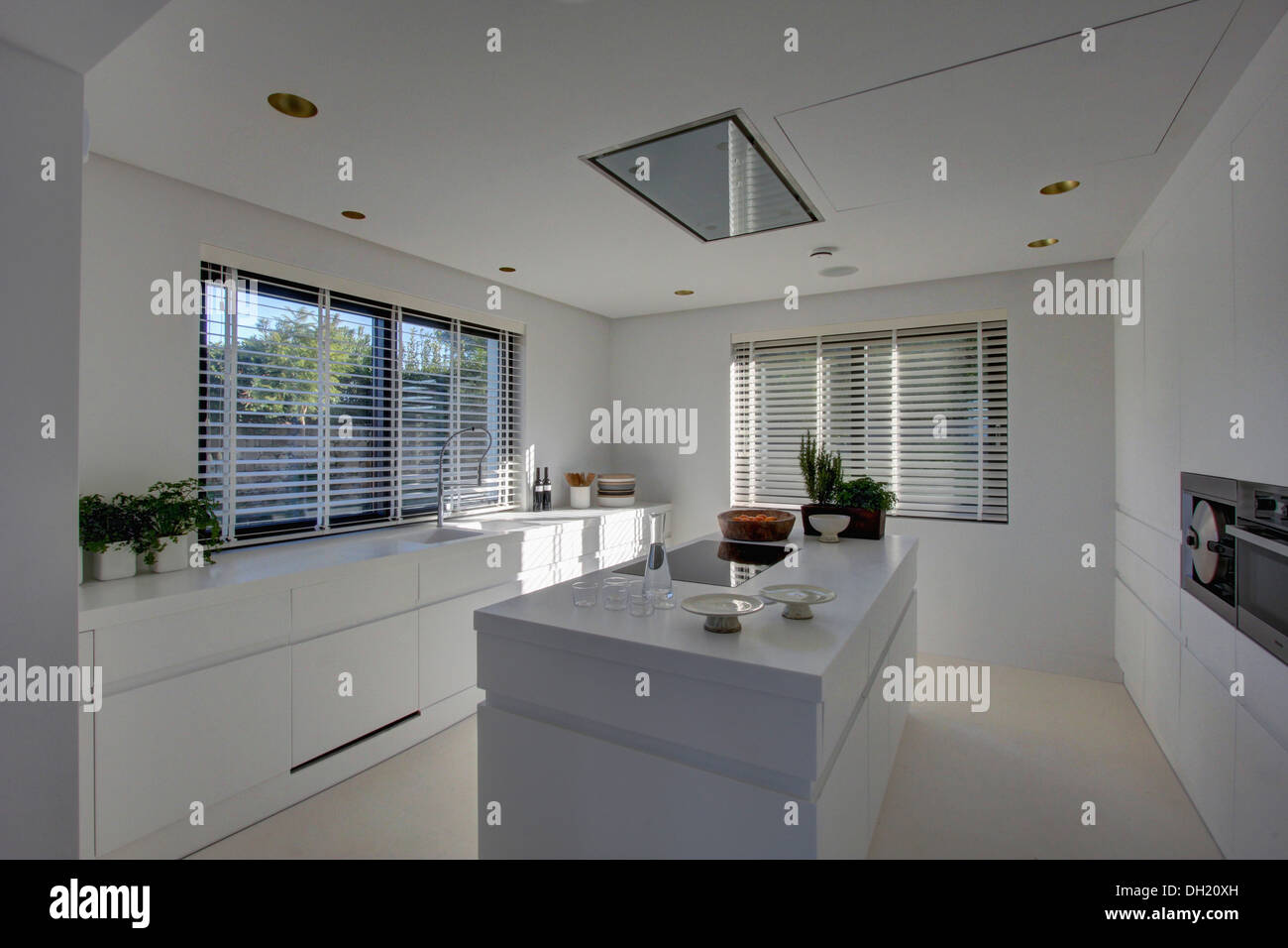 grey kitchen blinds skinny cabinet island unit in modern white with venetian on the windows