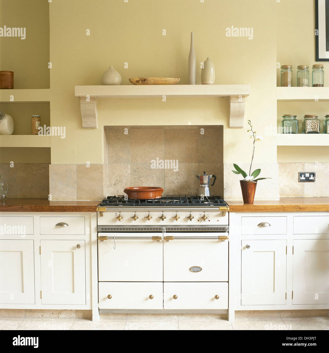 country shelves for kitchen stand alone island white range oven below shelf in with