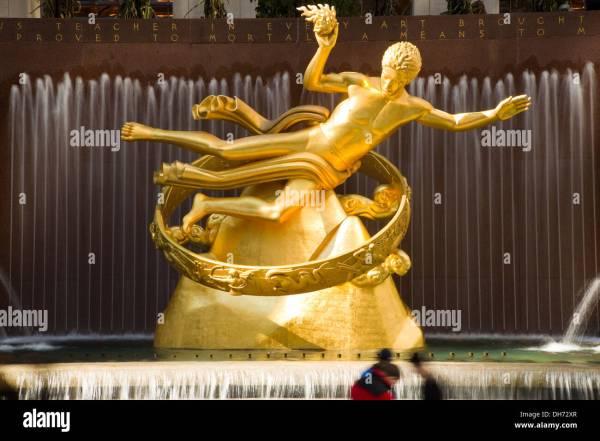 Gold Prometheus Statue Rockefeller Center York City
